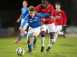 St Johnstone Academy v Manchester United Academy....17.04.15   <br /> Cameron Lumsden holds off Venancio Da Silva Monteiro<br /> Picture by Graeme Hart.<br /> Copyright Perthshire Picture Agency<br /> Tel: 01738 623350  Mobile: 07990 594431