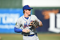 Kingsport Mets Brett Baty (1) warms up prior to a game against the Elizabethton Twins at Northeast Community Credit Union Ballpark on July 5, 2019 in Elizabethton, Tennessee. The Twins defeated the Mets 7-1. (Tracy Proffitt/Four Seam Images)