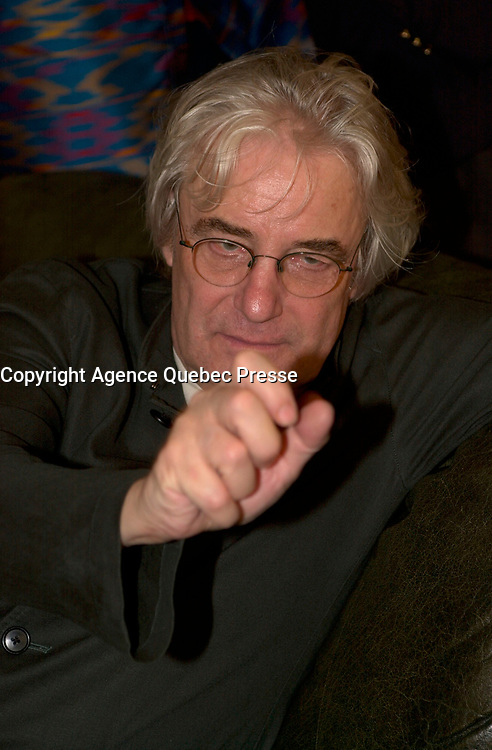 August 27,  2003, Montreal, Quebec, Canada<br /> <br /> Polish-French director Andrzej Zulawski pose for a funnny photo<br /> <br /> Two prominent European filmmakers preside over the international jury of the Montreal World Film Festival, . Swedish director Jan Troell, best-known to North American audiences for his Oscar-nominated films The Emigrants and The New Land, and Polish-French director Andrzej Zulawski (Possession, La Femme publique, Fidelity) will serve as co-presidents of the jury for the official competition of the 27th edition of the MWFF. The other members of the jury are: French actress Julie Depardieu, Canadian producer Rock Demers, Italian director Alesandro D'Alatri, Spanish archivist and film historian Luis Gasca, and American film critic Mike Goodridge. <br /> <br /> <br /> The Festival runs from August 27th to september 7th, 2003<br /> <br /> <br /> Mandatory Credit: Photo by Pierre Roussel- Images Distribution. (©) Copyright 2003 by Pierre Roussel <br /> <br /> All Photos are on www.photoreflect.com, filed by date and events. For private and media sales<br /> <br /> <br /> <br /> <br /> <br /> <br /> PHOTO :  Agence Quebec Presse