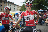 Maxime Monfort (BEL/Lotto-Belisol) on the startline<br /> <br /> 2014 Giro d'Italia<br /> stage 18: Belluno - Rifugio Panarotta (Valsugana), 171km