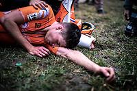 Kyle Agterberg (NED) post race exhausted <br /> <br /> Men's U23 race<br /> UCI 2020 Cyclocross World Championships<br /> Dübendorf / Switzerland<br /> <br /> ©kramon