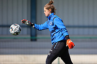 goalkeeper Femke Schamp (1) of Club Brugge pictured during the warm up before a female soccer game between Oud Heverlee Leuven and Club Brugge YLA on the 18 th and last matchday before the play offs of the 2020 - 2021 season of Belgian Womens Super League , saturday 27 th of March 2021  in Heverlee , Belgium . PHOTO SPORTPIX.BE | SPP | SEVIL OKTEM