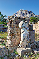 A statue of South Stoa in Ancient Corinth, Greece