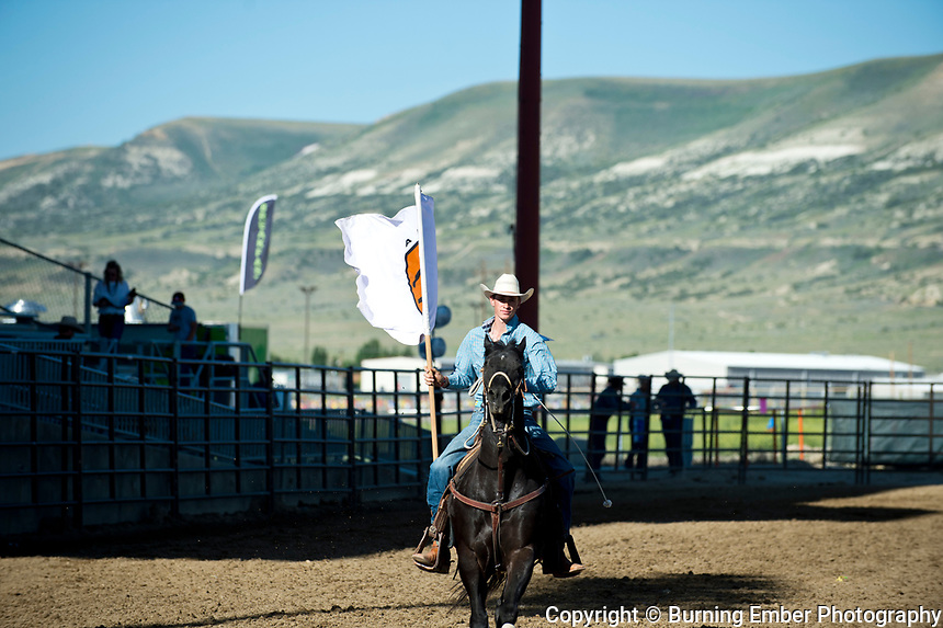 The opening before the start of the Friday moring go at the Wyoming State High School Finals Rodeo in Rock Springs Wyoming.  Photo by Josh Homer/Burning Ember Photography.  Photo credit must be given on all uses.