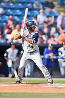 Columbia Fireflies second baseman Vinny Siena (9) awaits a pitch during a game against the Asheville Tourists at McCormick Field on June 18, 2016 in Asheville, North Carolina. The Tourists defeated the Fireflies 5-4. (Tony Farlow/Four Seam Images)