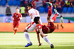 Tareq Khattab of Jordan (L) fights for the ball with Phan Van Duc of Vietnam (R) during the AFC Asian Cup UAE 2019 Round of 16 match between Jordan (JOR) and Vietnam (VIE) at Al Maktoum Stadium on 20 January 2019 in Dubai, United Arab Emirates. Photo by Marcio Rodrigo Machado / Power Sport Images