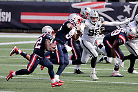 27th September 2020, Foxborough, New England, USA;  New England Patriots defensive back J.J. Taylor (42) carries the ball during the game between the New England Patriots and the Las Vegas Raiders