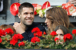 Real Madrid's Felipe Reyes with his wife Kirenia Cabrera during Madrid Open Tennis 2016 match.May, 6, 2016.(ALTERPHOTOS/Acero)