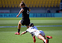 Michaela Blyde in action during the 2021 Takiwhitu Tuturu Sevens tournament match between Black Ferns Black and Black Ferns White at Sky Stadium in Wellington, New Zealand on Sunday, 11 April 2021. Photo: Dave Lintott / lintottphoto.co.nz