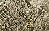 historical aerial photograph of Houston, Texas, 1953