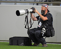 NZ Herald photographer Brett Phibbs shoots the Super Rugby match between the Blues and Highlanders at Eden Park in Auckland, New Zealand on Saturday, 11 March 2017. Photo: Dave Lintott / lintottphoto.co.nz