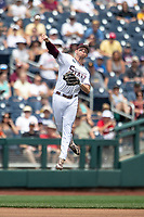 Mississippi State Bulldogs shortstop Jordan Westburg (11) makes a throw to first base during Game 8 of the NCAA College World Series against the Auburn Tigers on June 16, 2019 at TD Ameritrade Park in Omaha, Nebraska. Mississippi State defeated Auburn 5-4 6-3. (Andrew Woolley/Four Seam Images)