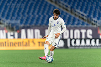 FOXBOROUGH, MA - SEPTEMBER 5: Sergi Nus #5 of Tormenta FC passes the ball during a game between Tormenta FC and New England Revolution II at Gillette Stadium on September 5, 2021 in Foxborough, Massachusetts.