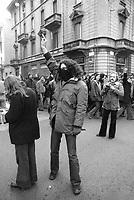 - Milano, Dicembre 1975,  manifestazione giovani di estrema sinistra  contro la sede del partito fascista MSI (Movimento Sociale Italiano)<br /> <br /> - Milan, December 1975, demonstration of young people of extreme left against the headquarters of the fascist party MSI (Movimento Sociale Italiano)
