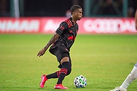 LAKE BUENA VISTA, FL - JULY 22: Kyle Duncan #6 of the New York Red Bulls kicks the ball during a game between New York Red Bulls and FC Cincinnati at Wide World of Sports on July 22, 2020 in Lake Buena Vista, Florida.