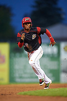Batavia Muckdogs right fielder Jhonny Santos (32) running the bases during a game against the West Virginia Black Bears on August 20, 2016 at Dwyer Stadium in Batavia, New York.  Batavia defeated West Virginia 7-2. (Mike Janes/Four Seam Images)