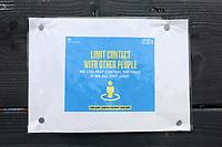 Social distancing signage during Redbridge vs Clapton, Len Cordell Memorial Cup Football at Oakside Stadium on 10th April 2021