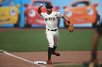SAN FRANCISCO, CA - AUGUST 23:  Evan Longoria #10 of the San Francisco Giants makes a play at third base against the Arizona Diamondbacks during the game at Oracle Park on Sunday, August 23, 2020 in San Francisco, California. (Photo by Brad Mangin)