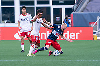 FOXBOROUGH, MA - JUNE 26: Connor Presley #7 of the New England Revolution attempts to get around Gibran Rayo #14 of North Texas SC during a game between North Texas SC and New England Revolution II at Gillette Stadium on June 26, 2021 in Foxborough, Massachusetts.