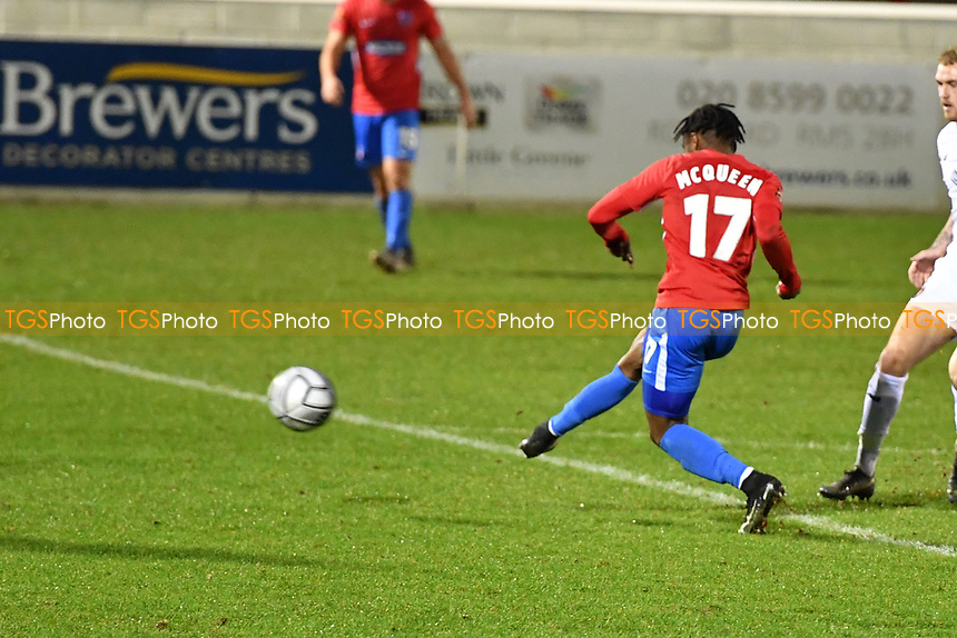 Darren McQueen of Dagenham and Redbridge FC  during Dagenham & Redbridge vs Ebbsfleet United, Buildbase FA Trophy Football at the Chigwell Construction Stadium on 19th December 2020