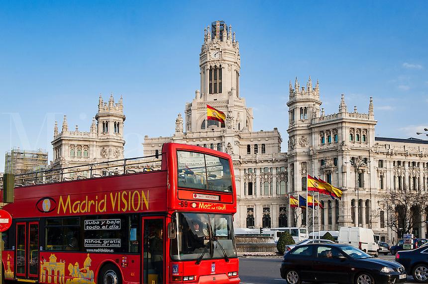 Madrid Vision city tour bus at Plaza de la Cibeles, Madrid, Spain