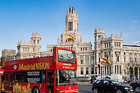 Madrid Vision city tour bus at Plaza de la Cibeles, Madrid, Spain