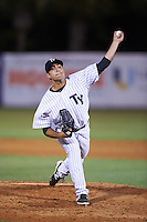 Tampa Yankees relief pitcher Daniel Camarena (39) delivers a pitch during a game against the Bradenton Marauders on April 11, 2016 at George M. Steinbrenner Field in Tampa, Florida.  Tampa defeated Bradenton 5-2.  (Mike Janes/Four Seam Images)