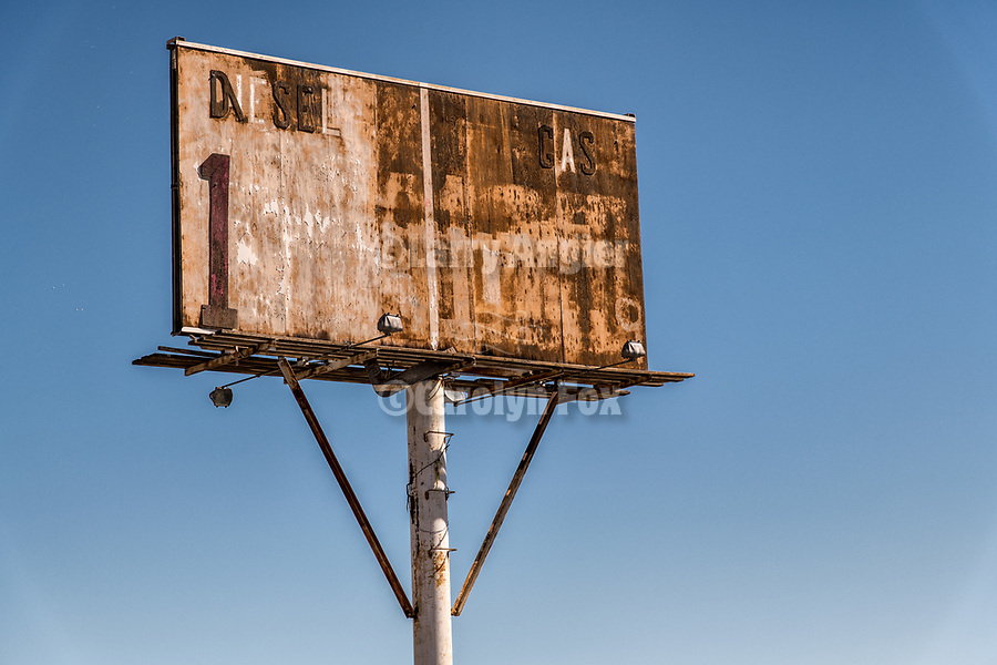 Rusting, abandoned gas station price signs along the frontage, I-80, Trinity, Nev., at the edge of the Forty Mile Desert.