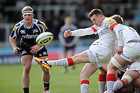 20130310 Copyright onEdition 2013©.Free for editorial use image, please credit: onEdition..Ben Spencer of Saracens clears his line from behind a ruck during the LV= Cup semi final match between Sale Sharks and Saracens at the Salford City Stadium on Sunday 10th March 2013 (Photo by Rob Munro)..For press contacts contact: Sam Feasey at brandRapport on M: +44 (0)7717 757114 E: SFeasey@brand-rapport.com..If you require a higher resolution image or you have any other onEdition photographic enquiries, please contact onEdition on 0845 900 2 900 or email info@onEdition.com.This image is copyright onEdition 2013©..This image has been supplied by onEdition and must be credited onEdition. The author is asserting his full Moral rights in relation to the publication of this image. Rights for onward transmission of any image or file is not granted or implied. Changing or deleting Copyright information is illegal as specified in the Copyright, Design and Patents Act 1988. If you are in any way unsure of your right to publish this image please contact onEdition on 0845 900 2 900 or email info@onEdition.com