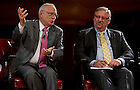 Sept. 4, 2012; Rabbi David Saperstein answer a question as Pastor Rick Warren listens during the kick-off event for the 2012-13 Notre Dame Forum: Conviction vs. Compromise: Being a Person of Faith in a Liberal Democracy at the DeBartolo Performing Arts Center. Photo by Barbara Johnston/University of Notre Dame