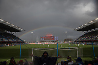 SAN JOSE, CA - Feb 2, 2019:  A rainbow appears as the USA and American Outlaws fans cheer during the USA Men's National Team game against Costa Rica.