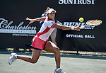 Teliana Periera (BRA) loses to Daniela Hantuchova 6-2, 6-3 at the Family Circle Cup in Charleston, South Carolina on April 3, 2014.