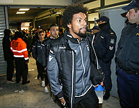 Pictured: Diego Biseswar of PAOK arrives at the Toumba Stadium in Thessaloniki, Greece. Sunday 25 February 2018<br /> Re: Sunday's Greek Super League derby between PAOK Thessaloniki and Olympiakos was called off after Olympiakos' manager Oscar Garcia was struck in the face by an object believed to be a till machine paper roll, thrown by a spectator minutes before kick-off.<br /> Garcia left Toumba Stadium for a local hospital to seek treatment for a bloodied lip.<br /> The incident prompted the Olympiakos team to leave the pitch in protest before riots erupted outside the ground.<br /> Angry PAOK fans leaving the stadium then clashed with police who used tear gas to quell the violence.