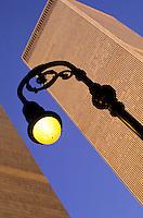 World Trade Center behind a street lamp