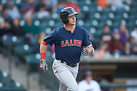Bobby Dalbec (29) of the Salem Red Sox hustles down the first base line against the Winston-Salem Dash at BB&T Ballpark on April 21, 2018 in Winston-Salem, North Carolina.  The Dash walked-off the Red Sox 4-3.  (Brian Westerholt/Four Seam Images)