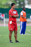 US U-17 head coach Wilmer Cabrera watches his team during the first day of the group stage at the CONCACAF Men's Under 17 Championship at Catherine Hall Stadium in Montego Bay, Jamaica. The United States defeated Cuba, 3-1.
