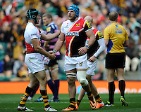 James Haskell of London Wasps is congratulated by captain Chris Bell of London Wasps after scoring his first try during the Aviva Premiership match between London Wasps and Gloucester Rugby at Twickenham Stadium on Saturday 19th April 2014 (Photo by Rob Munro)