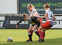 Justine Blave (22) of Eendracht Aalst with Ella Vierendeels (4) of Zulte Waregem and Lotte De Wilde (19) of Zulte Waregem pictured during a female soccer game between Eendracht Aalst and SV Zulte Waregem on the fourth matchday of play off 2 of the 2020 - 2021 season of Belgian Scooore Womens Super League , Saturday 1 st of May 2021  in Aalst , Belgium . PHOTO SPORTPIX.BE | SPP | DIRK VUYLSTEKE