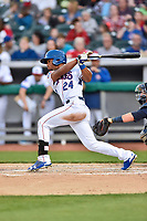 Tennessee Smokies left fielder Charcer Burks (24) swings at a pitch during a game against the Mississippi Braves at Smokies Stadium on April 12, 2017 in Kodak, Tennessee. The Braves defeated the Smokies 6-2. (Tony Farlow/Four Seam Images)