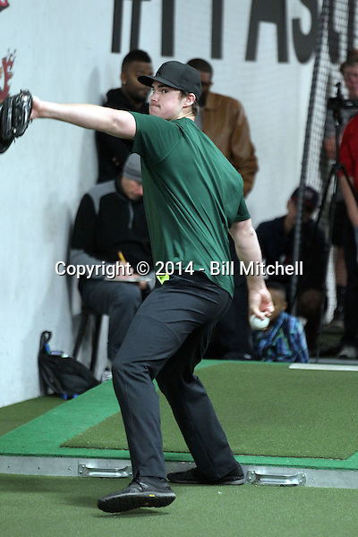 Jacob Nix participates in the a showcase for scouts at the PFA training facility in Upland, California on December 26, 2014 (Bill Mitchell)