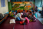 Father Laborde plays with the mentally challanged students of Asha Neer at Howrah. West Bengal, India, Arindam Mukherjee/Agency Genesis