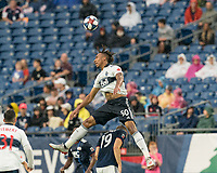 FOXBOROUGH, MA - JULY 17: Theo Bair #50 heads the ball during a game between Vancouver Whitecaps and New England Revolution at Gillette Stadium on July 17, 2019 in Foxborough, Massachusetts.