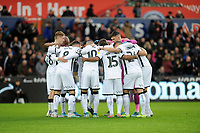 Players of Swansea City team huddle during the Sky Bet Championship match between Swansea City and Millwall at the Liberty Stadium in Swansea, Wales, UK. Saturday 23rd November 2019