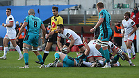 25 October 2020; John Cooney gets the ball away for during the Guinness PRO14 match between Ulster and Dragons at Kingspan Stadium in Belfast. Photo by John Dickson/Dicksondigital
