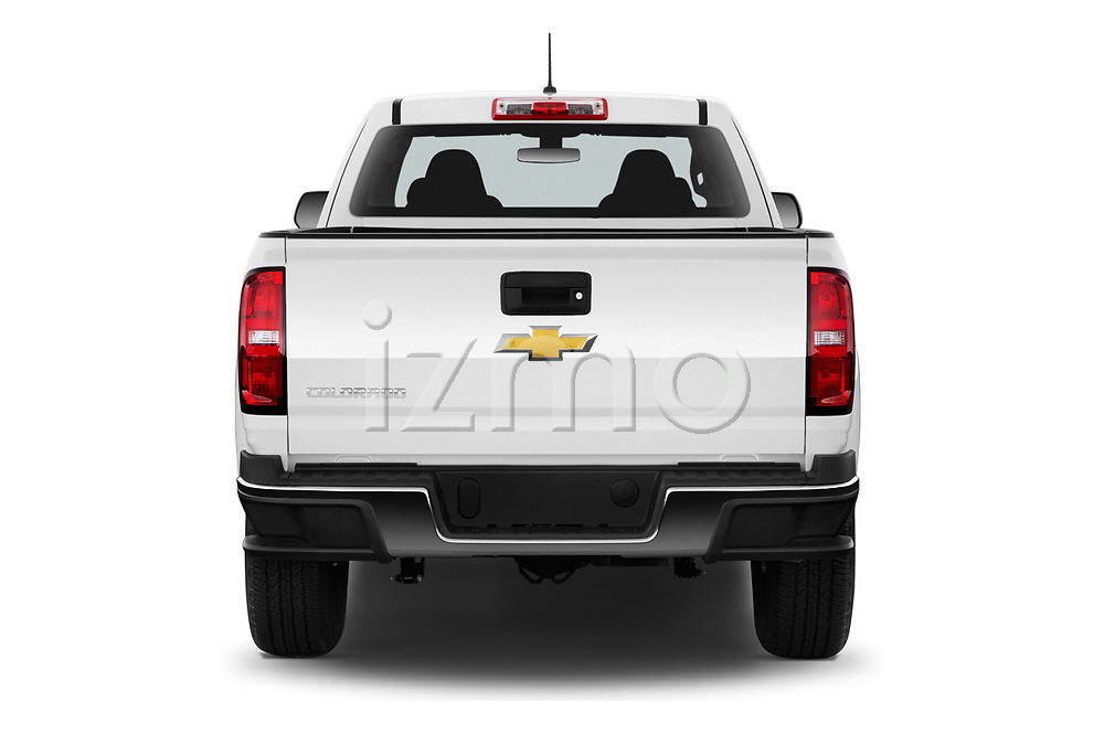 Straight rear view of a 2019 Chevrolet Colorado WT 4 Door Pick Up stock images