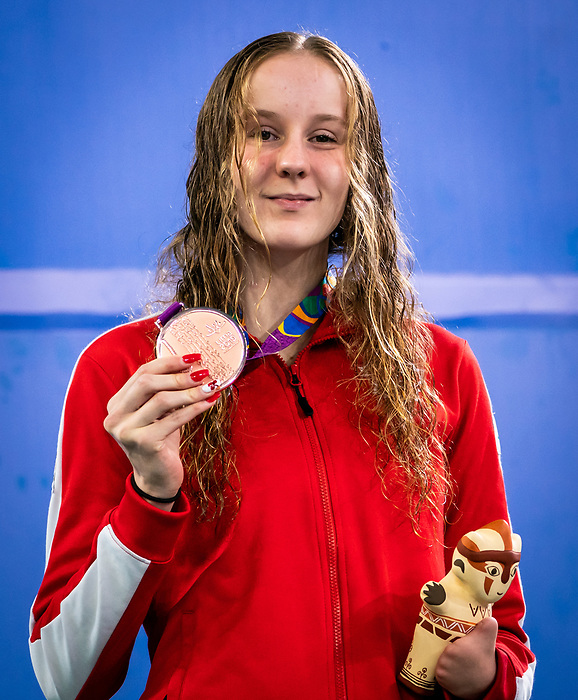 Arianna Hunsicker, Lima 2019 - Para Swimming // Paranatation.<br /> Arianna Hunsicker wins bronze in Para Swimming 200m IM SM10 // Arianna Hunsicker a gane le bronze en paranatation 200m IM SM10. 26/08/2019.