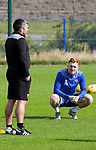St Johnstone Training...14.08.21<br />Liam Craig pictured talking with manager Callum Davidson during training at McDiarmid Park ahead of tomorrow's Premier Sports Cup game at Arbroath.<br />Picture by Graeme Hart.<br />Copyright Perthshire Picture Agency<br />Tel: 01738 623350  Mobile: 07990 594431
