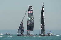 Land Rover BAR, JULY 23, 2016 - Sailing: Land Rover BAR leads SoftBank Team Japan during day one of the Louis Vuitton America's Cup World Series racing, Portsmouth, United Kingdom. (Photo by Rob Munro/AFLO)
