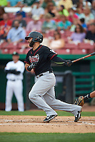 Great Lakes Loons catcher Julian Leon (43) at bat during a game against the Kane County Cougars on August 13, 2015 at Fifth Third Bank Ballpark in Geneva, Illinois.  Great Lakes defeated Kane County 7-3.  (Mike Janes/Four Seam Images)