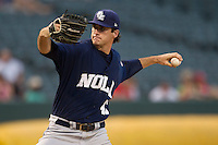 New Orleans Zephyrs starting pitcher Brian Flynn (43) delivers a pitch to the plate against the Memphis Redbirds in the Pacific Coast League baseball game on June 12, 2013 at Autozone Park in Memphis, Tennessee. Memphis defeated New Orleans 9-3. (Andrew Woolley/Four Seam Images)